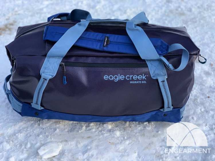 Eagle Creek Migrate Duffel in the snow