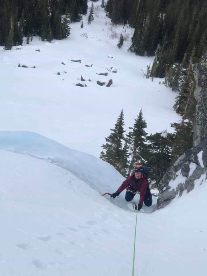 Erin topping out the first pitch of the Scottish gully on mt. Lincoln, Colorado