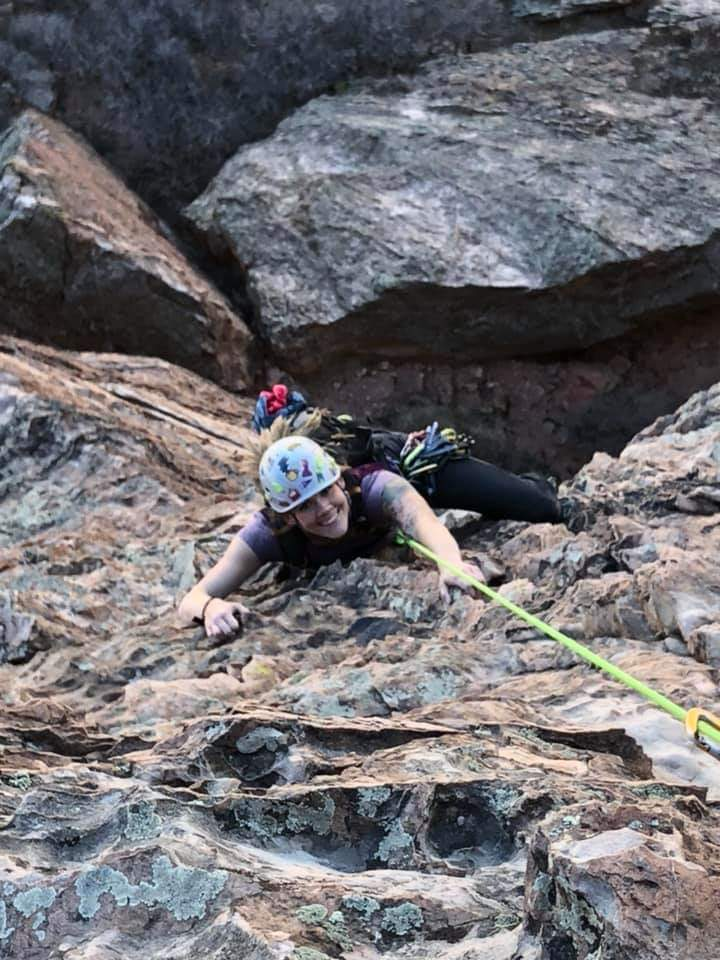 Becca Howard following a 260 ft pitch in garden of the gods.