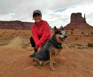 Engearment writer Kate with her Australian Cattle Dog, Utah.