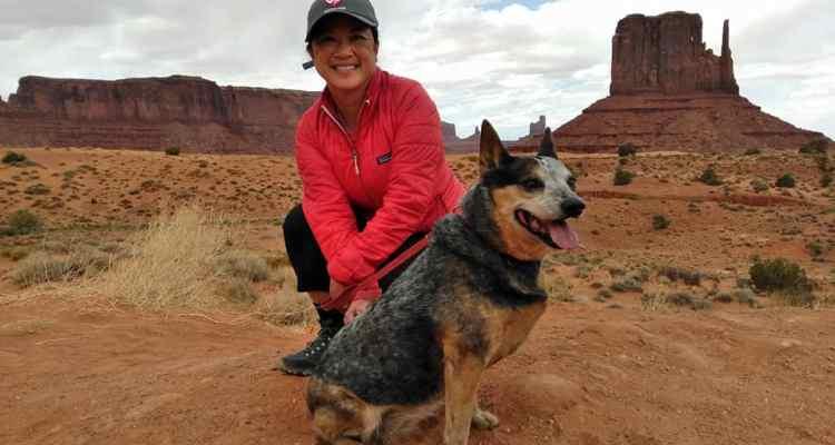 Engearment writer Kate with her Australian Cattle Dog, Utah.