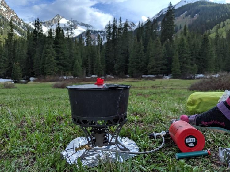 Omnilite Ti stove at camp