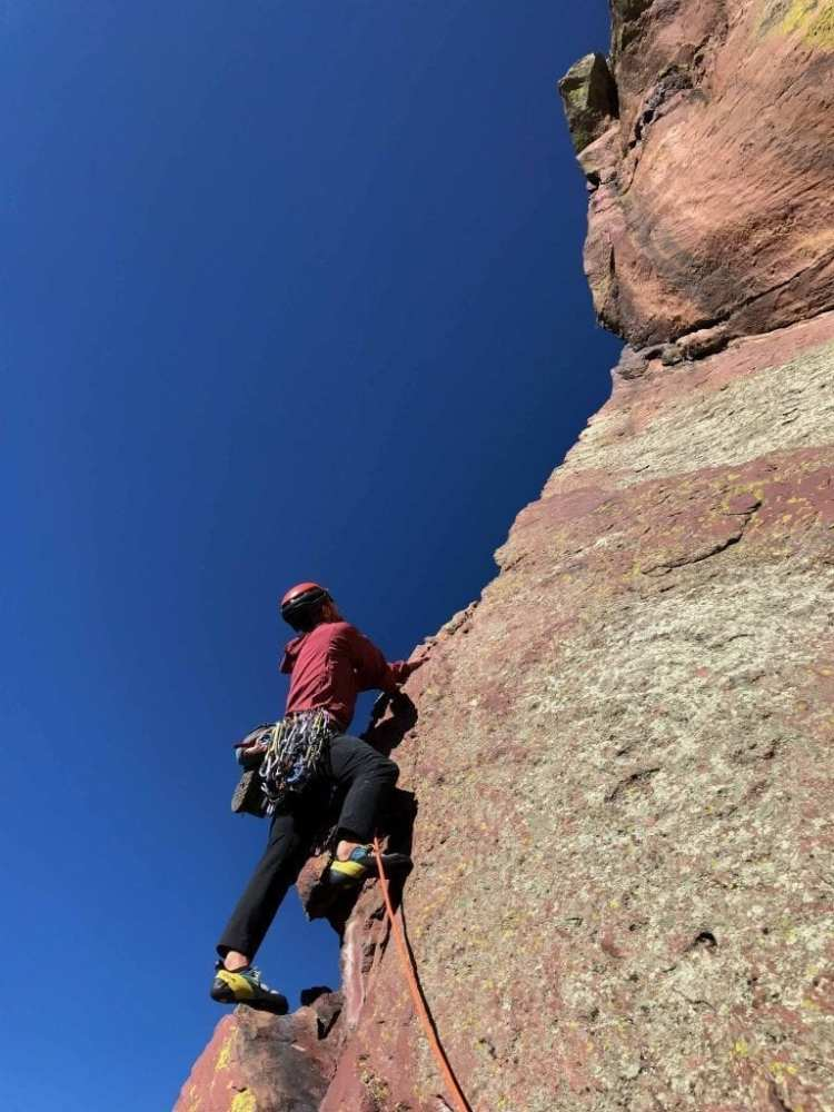 Black Diamond Alpine Start Hoody The author testing new gear on the classic Naked Edge (5.11b) in Eldorado Canyon, CO on a sunny October day with a whipping fall wind. I was happy to have the Alpine Start hoody and wind-resistant Traverse pants since it was pretty chilly even in the sun. The 60-meter Mammut Mammut Revelation 9.2 mm rope was a great choice, with robust edge-cutting protection and lightweight.