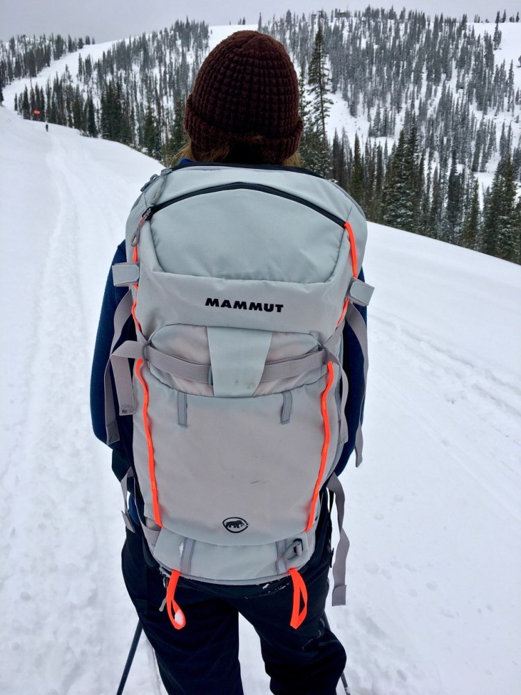 Mammut Spindrift 32L Backpack Front of pack showing the small brain-like pocket and ice axe carry.