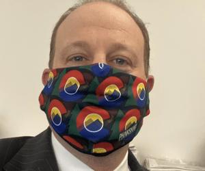 Governor Jared Polis Phukshun Wear face mask