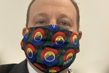 Governor Jared Polis Phukshun Wear face mask