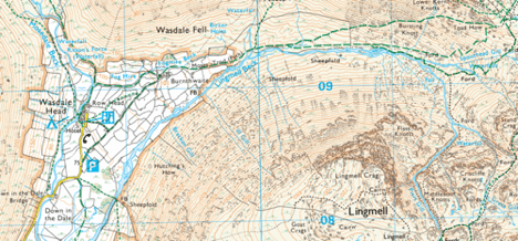 An Ordnance Survey 1:25,000 map. Look at the detail. Walls, crags, land cover are all accurately marked.