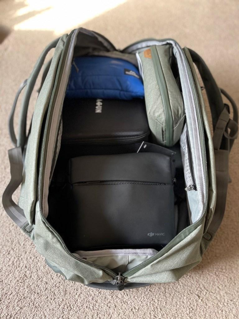 Peak Design Travel Duffelpack 65L with gear inside Engearment