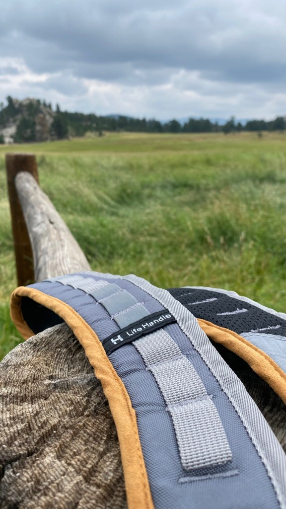 Life Handle Dog Leash sling: note the soft fabric on the neckline, mesh on the inside, and the great attention to detail.