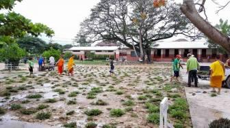 Die Renovierung des Schulhofs der Grundschule in Ban Phang Heng 2014