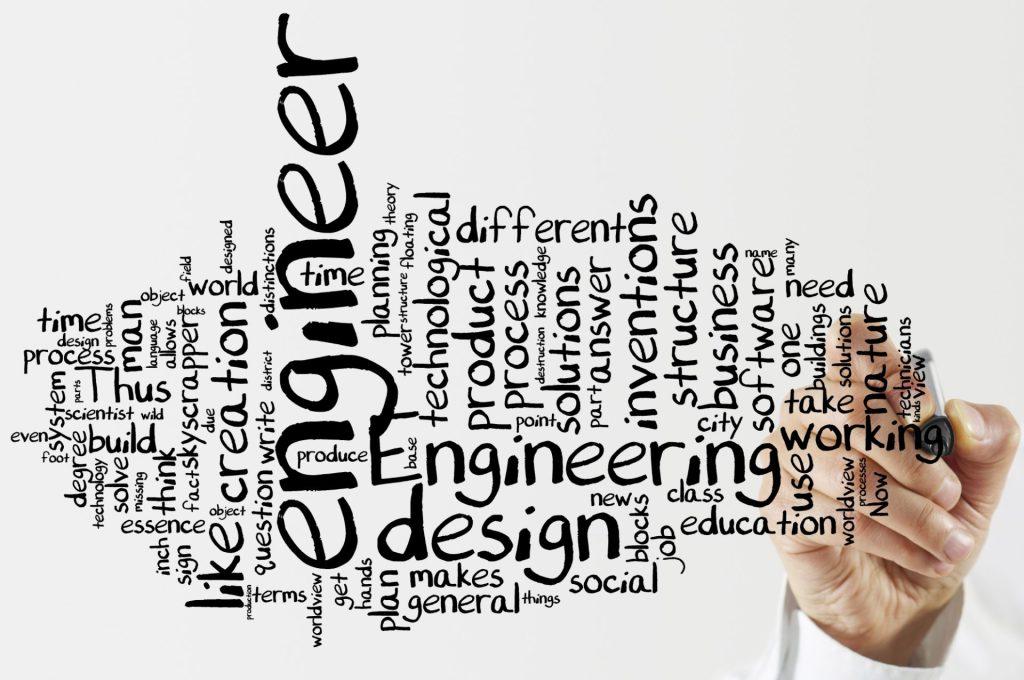 imagem com fundo branco com todas as palavras ligadas à engenharia em inglês