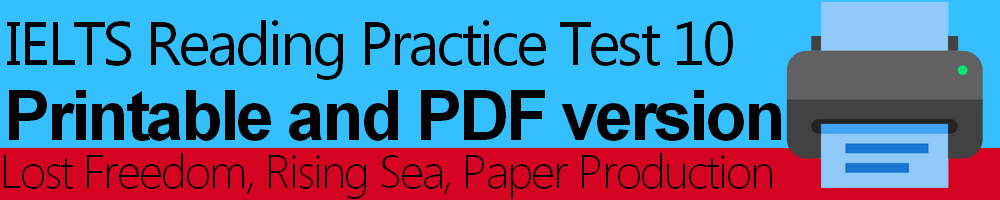 IELTS Reading Practice Test 10 Printable and PDF version