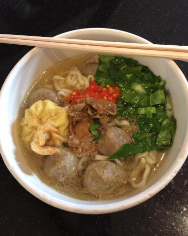 Indonesian Beef Balls Noodle soup, served in a 32 oz cup £5.50/portion