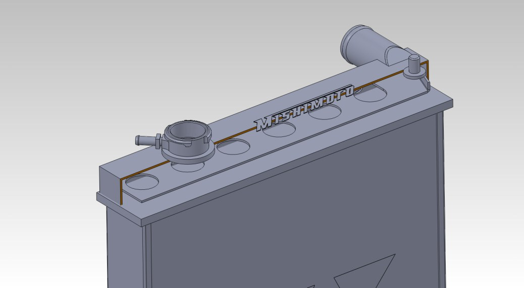 Solidworks model with internal baffle