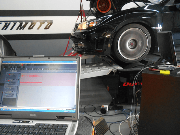 External microphones placed around the engine to analyze change in engine tone