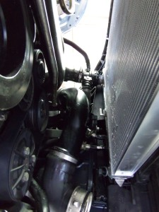 Mishimoto radiator installed from below
