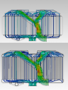 CFD analysis of stock cooler (top) and Mishimoto TMIC prototype cooler