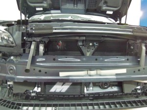 19-row oil cooler mounted on the WRX test vehicle