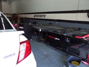 WRX test vehicle and the Dynojet dynamometer