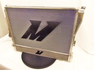 Mishimoto prototype oil cooler mounted to Mishimoto aluminum radiator