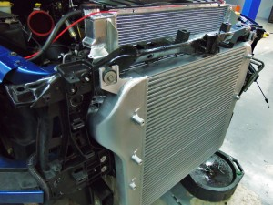 Mishimoto 6.7L Cummins intercooler installed