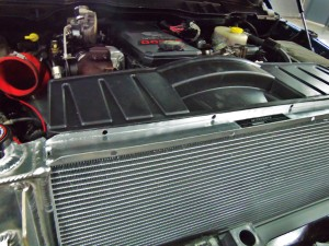 Mishimoto 6.7L Cummins radiator prototype installed with shroud