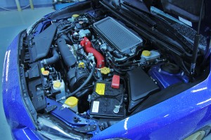 Launch Edition Subaru STI stock engine bay