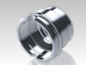 3D model of CNC-machined quick-disconnect fitting