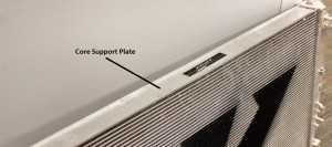 Radiator core support plate