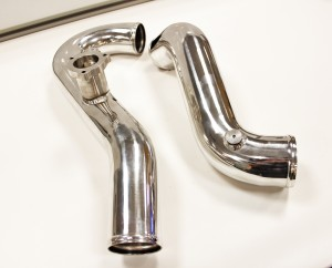 Mishimoto hot-side (left) and cold-side (right) intercooler pipes