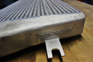 Mishimoto intercooler prototype end-tank branding