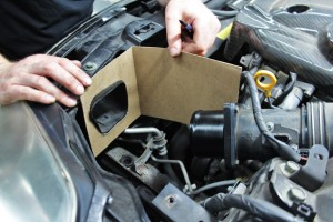 Airbox cardboard template for Mishimoto Nissan 350Z intake