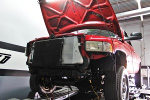 Mishimoto Cummins intercooler kit installed on test truck