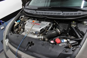 Honda Civic strapped to Dynojet for intake testing