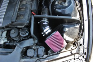 Mishimoto E46 air intake kit installed