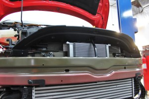Fabricated Fiesta ST oil cooler brackets installed