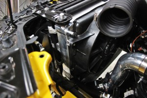 Mishimoto prototype 2015 Mustang radiator installed