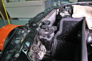 Stock BMW E46 expansion tank installed