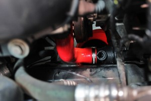 Mishimoto E46 lower radiator hose installed