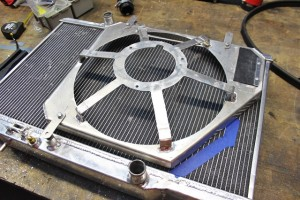 Fan shroud mocked into place on Mishimoto Ford Fiesta radiator