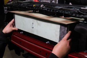 Mocking up the Mustang oil cooler with a cardboard and foam prototype