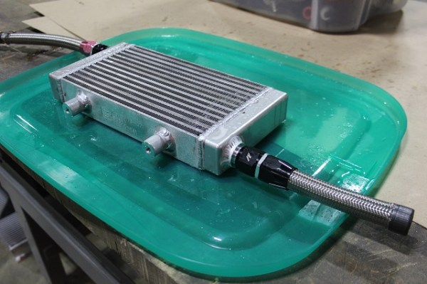 Leak testing Mustang oil cooler prototypes
