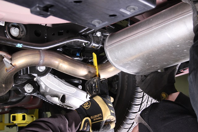 Cutting the stock 2015 Mustang GT exhaust