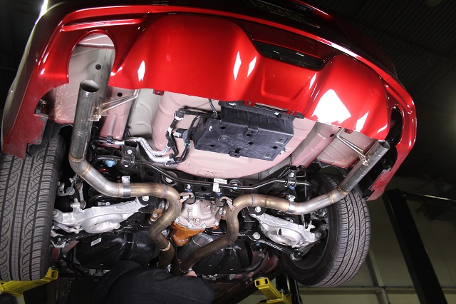 Prototype 2015 Mustang GT exhaust with straight pipes