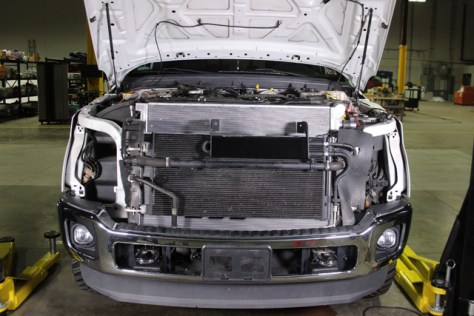 The front of our 6.7 Super Duty with Mishimoto's primary and secondary system radiators installed.