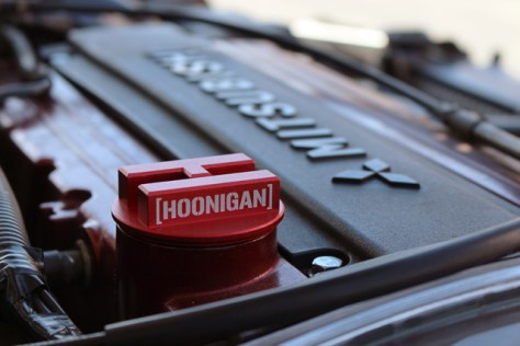 Hoonigan Mitsubishi Oil Cap on an Evo 9