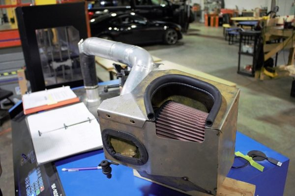Our prototype intake on the flow bench!