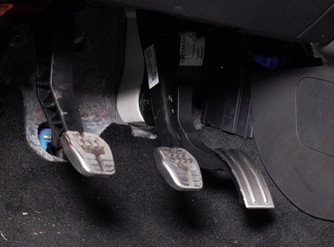 Prototype Focus RS gas pedal spacer installed