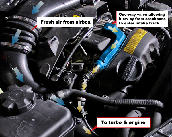 The N55's PCV system operating in turbocharged mode. The blue highlighted area shows the one-way valve that allows blow-by into the intake track before the turbo.