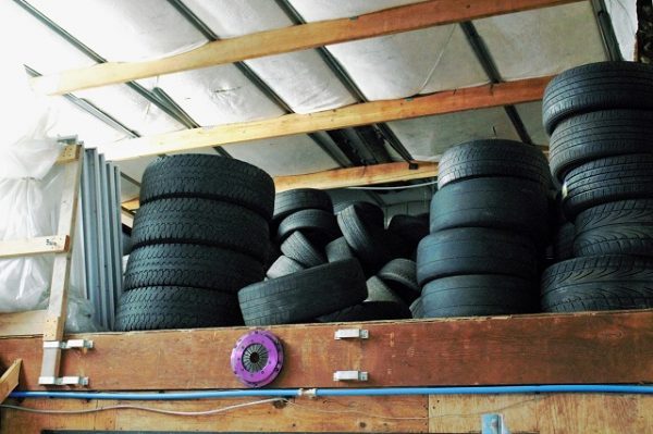 No drift garage is complete without giant stacks of tires lying around somewhere